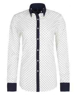 Biela dámska košeľa so vzorom Di Selentino Saint Tropez – Slim fit