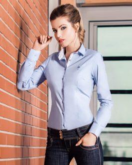 30005-KD-107 Svetlo-modrá elegantná dámska košeľa