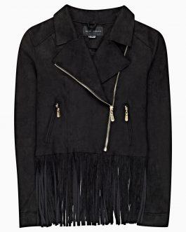 GATE Motorkárska bunda z imitácie semišu so strapcami