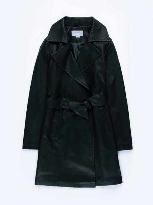 GATE Dlhý kabát z imitácie kože