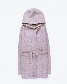 GATE Melírovaný kabát s kapucňou a opaskom