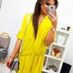 Žlté dámske šaty EVER v košeľovom prevedení (ey0869)