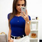 Štýlové modré dámske tričko (ry0740)