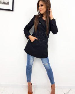 Dámsky dvojradový plášť čiernej farby (ny0259)
