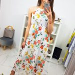 Biele dámske šaty s kvietkami MAXI SUMMER (ey0880)