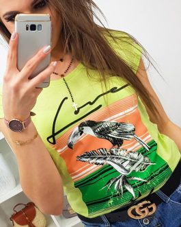 Štýlové svetlo-zelené dámske tričko PELIKAN (ry0757)
