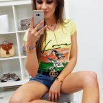 Dámske tričko PELIKAN v trendy citrónovej farby (ry0758)