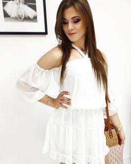 Biele šaty BELLA v jemne priesvitnom prevedení (ey0896)