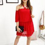 Červené štýlové šaty BELLA (ey0897)