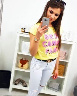 Trendové žlto-citrónové dámske tričko (ry0816)