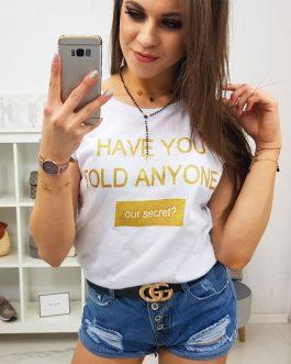 Dámske biele štýlové tričko SECRET (ry0831)