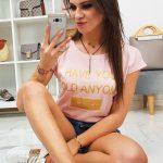 Púdrovo-ružové tričko SECRET v jednoduchom strihu (ry0832)