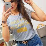 Sivé trendové tričko SECRET (ry0834)