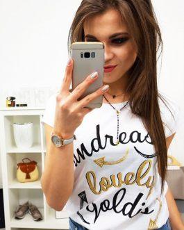 Biele tričko LOVELY v módnom prevedení (ry0841)