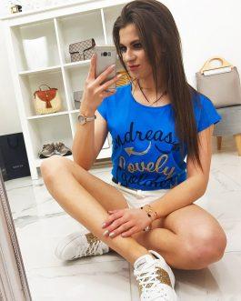 Dámske tričko LOVELY v modrej farbe (ry0846)