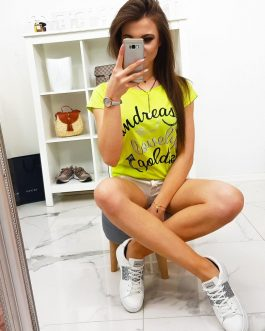 Trendy tričko LOVELY s potlačou žlté (ry0849)