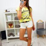 Dámske tričko LOVELY v citrónovej farbe (ry0850)