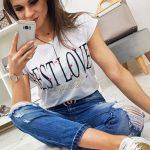 Biele jednoduché tričko s potlačou BEST LOVE (ry0851)