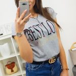 Originálne dámske sivé tričko  BEST LOVE (ry0854)