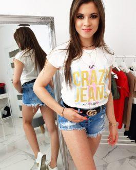 Trendy smotanovo-biele dámske tričko CRAZY JEANS (ry0951)