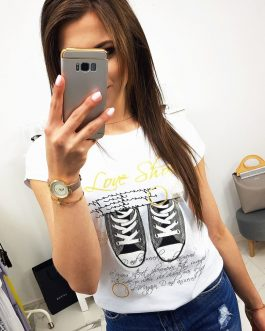 Dámske biele tričko SHOES (ry0987)