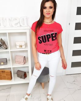 Malinovo-červené tričko s krátkym rukávom (ry0991)