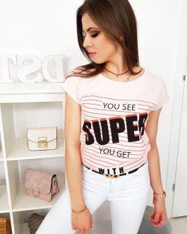 Púdrovo-ružové moderné tričko (ry0992)