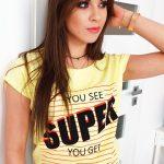 Dámske bavlnené žlté tričko (ry0993)