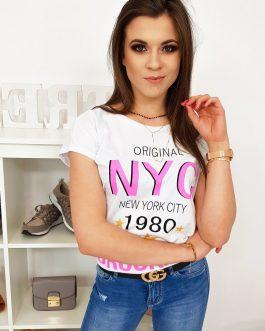 Štýlové dámske tričko v bielej farbe (ry0998)