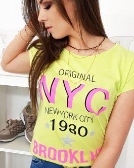 Pohodlné limetkovo-žlté dámske tričko (ry1001)