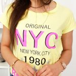 Trendové žlté tričko s krátkym rukávom (ry1003)