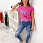 Ružové tričko v jednoduchom prevedení (ry1007)