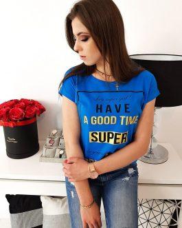 Dámske bavlnené tričko modrej farby (ry1020)