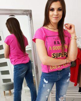 Pohodlné ružové dámske tričko (ry1026)