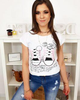 Biele moderné tričko s potlačou (ry1028)