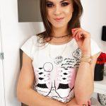 Smotanovo-biele bavlnené dámske tričko (ry1037)