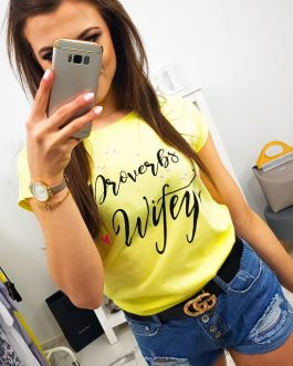 Citrónovo-žlté dámske tričko s krátkym rukávom (ry1070)
