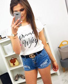 Smotanovo-biele bavlnené tričko s potlačou (ry1075)