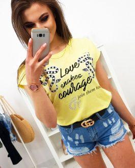 Štýlové dámske citrónovo-žlté tričko (ry1158)