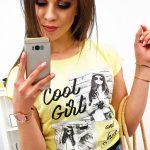Citrónovo-žlté štýlové tričko pre dámy (ry1188)