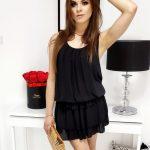 Čierne šaty na ramienka (ey0905)