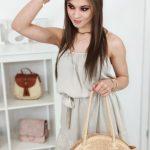 Béžové letné šaty na ramienka (ey0908)