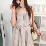Dámska šaty na ramienka v cappuccino farbe (ey0910)