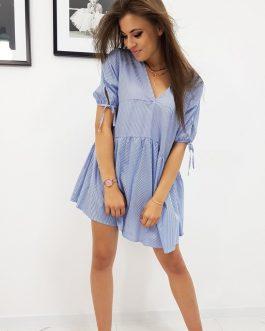 Dámske modré šaty s pásikmi (ey0912)