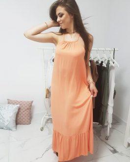 Dámske dlhé šaty oranžovej farby (ey0942)