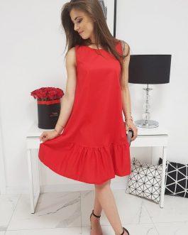 Dámske červené šaty bez rukávov (ey0952)