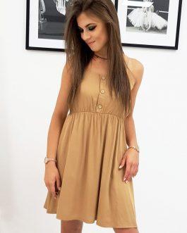 Dámske kamelové šaty na ramienka (ey0962)