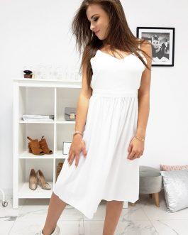Biele dámske šaty v štýlovom prevedení (ey0966)
