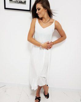 Biele šaty na ramienka (ey0978)