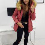 Krásna malinovo-červená zimná bunda SILECIA (ty0797)